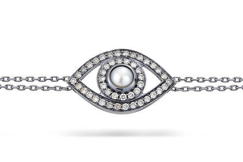 Eye Bracelet in Grey Diamonds
