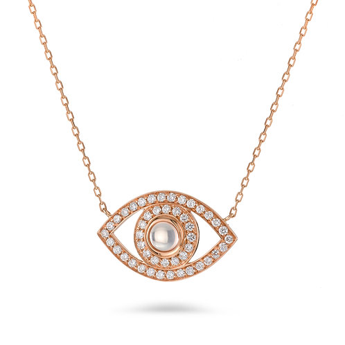 Eye Necklace in Rose' gold and Diamonds