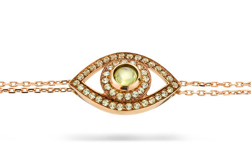 Eye Bracelet in Green Peridot