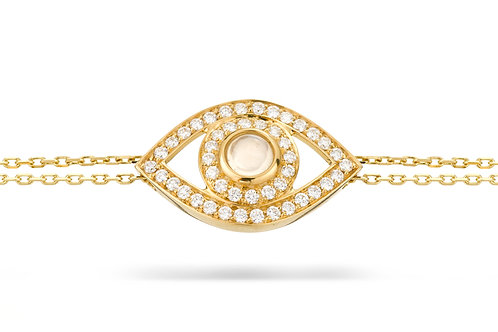 Eye Bracelet in white Diamonds and Yellow Gold
