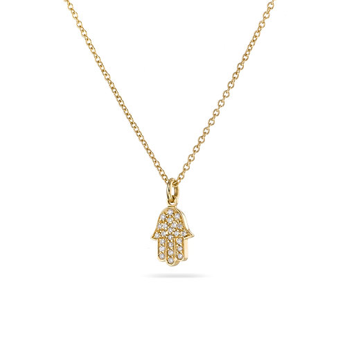 Hamsa Pave' Necklace in Yellow gold
