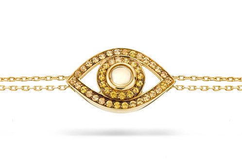 Eye Bracelet in Yellow Sapphire and Yellow Gold