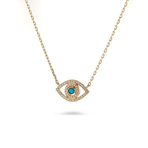 Mini Eye Necklace in white Diamonds- Yellow gold -Turquoise