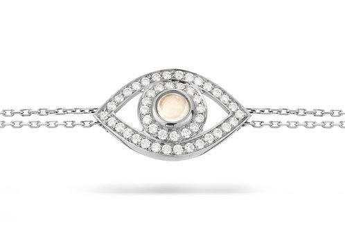 Eye Bracelet white diamond -white gold