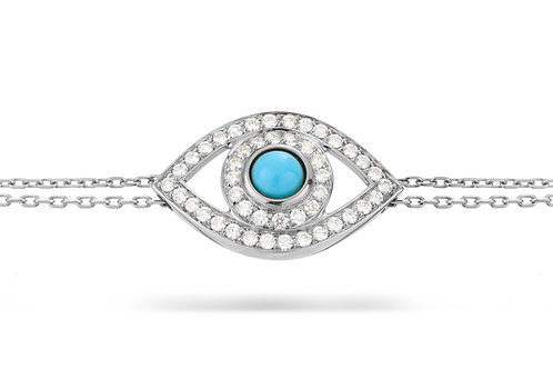 Eye Bracelet in white Diamonds, White Gold and  Turquoise