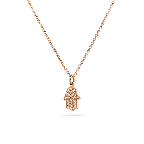 Hamsa Pave' Necklace in Rose' gold