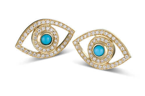 Eye  Diamonds earrings Yellow Gold -Turquoise