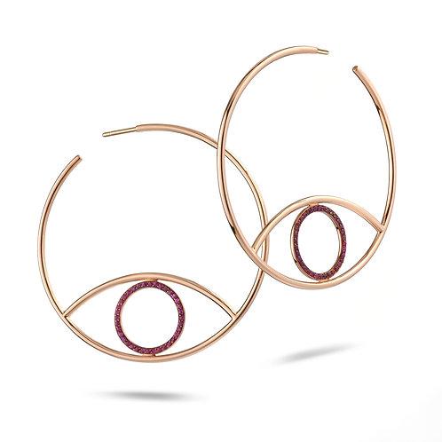 Eye Hoops Earrings Rubies