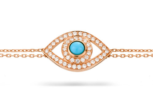 Eye Bracelet in white Diamonds,  Rose' Gold and Turquoise