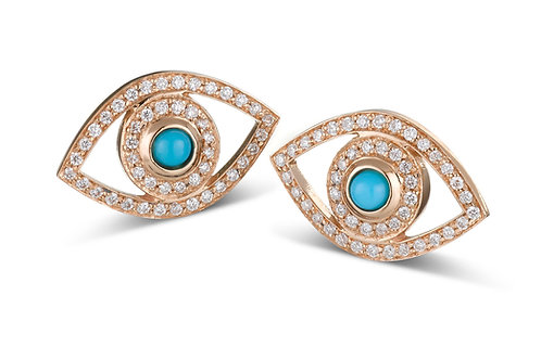 Eye  Diamonds earrings Rose' Gold -Turquoise