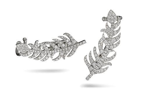 Feather Earrings in White diamonds