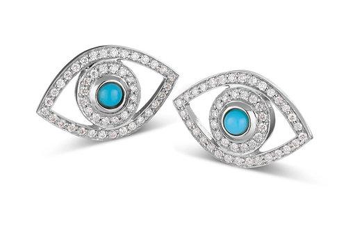Eye  Diamonds earrings White  Gold -Turquoise