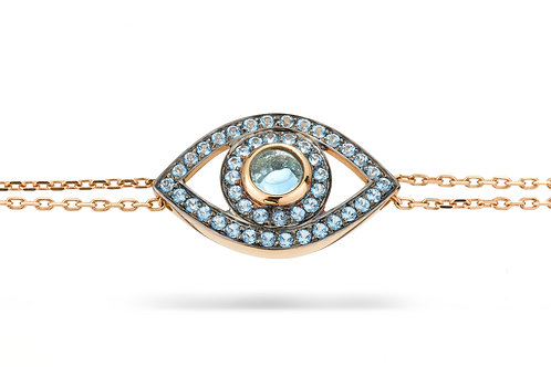 Eye Bracelet in Blue Topaz