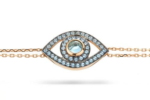 Eye Bracelet in Blue Topaz