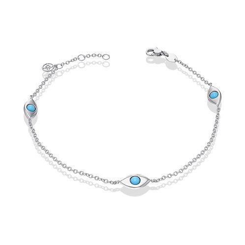 3 EyeBall Anklet-White Gold