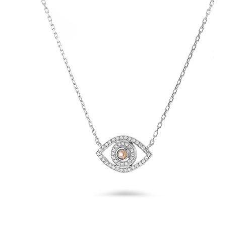 Mini Eye Necklace in white Diamonds - White gold