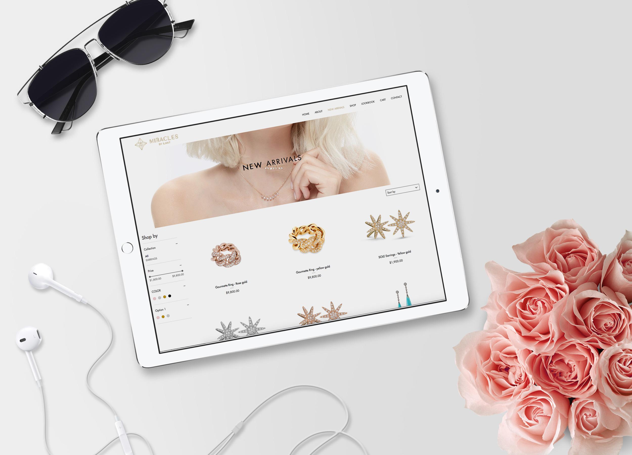 הדמיה עיצוב אתר בטאבלט