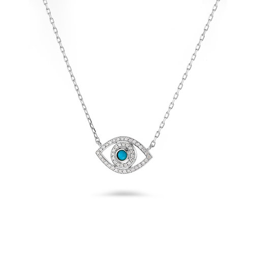 Mini Eye Necklace in white Diamonds- White gold -Turquoise