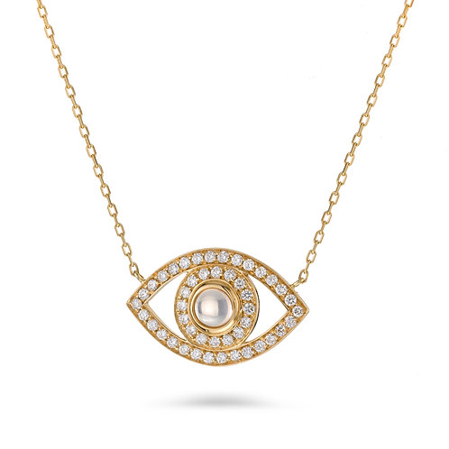 Eye Necklace -Yellow gold and Diamonds