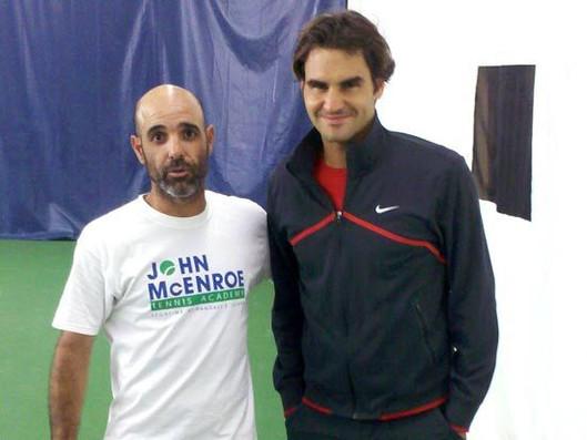 Roger Federer with Gilad Bloom