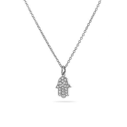 Hamsa Pave' Necklace in white gold