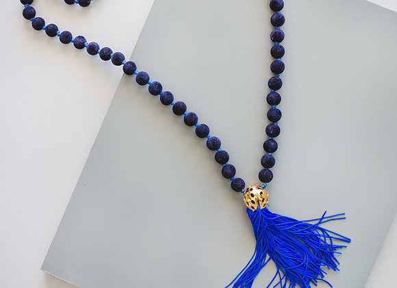 Blue Tassel Velvet Necklace
