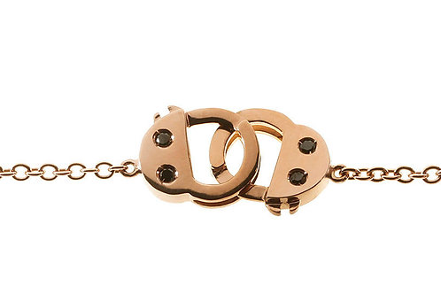 Handcuff  Bracelet - Rose gold Black Diamonds