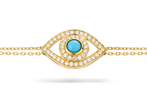 Eye Bracelet in white Diamonds, Yellow Gold and  Turquoise