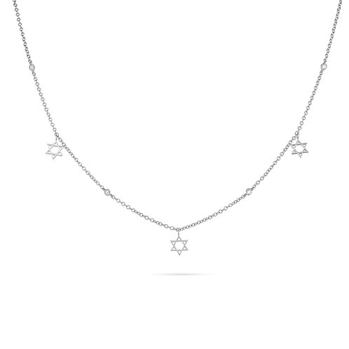 Gold Magen David Necklace-White Gold
