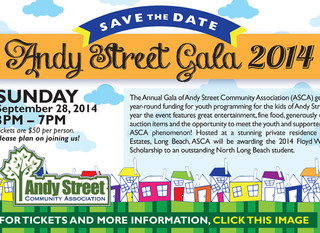 Annual Gala Save the Date: Sunday, September 28, 2014