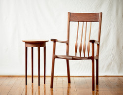 Side Table and Arm Chair, Walnut