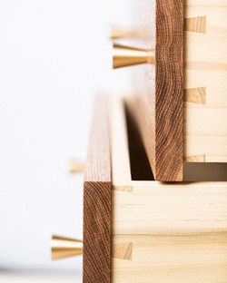Dovetailed Drawers, White Oak, Poplar and Brass