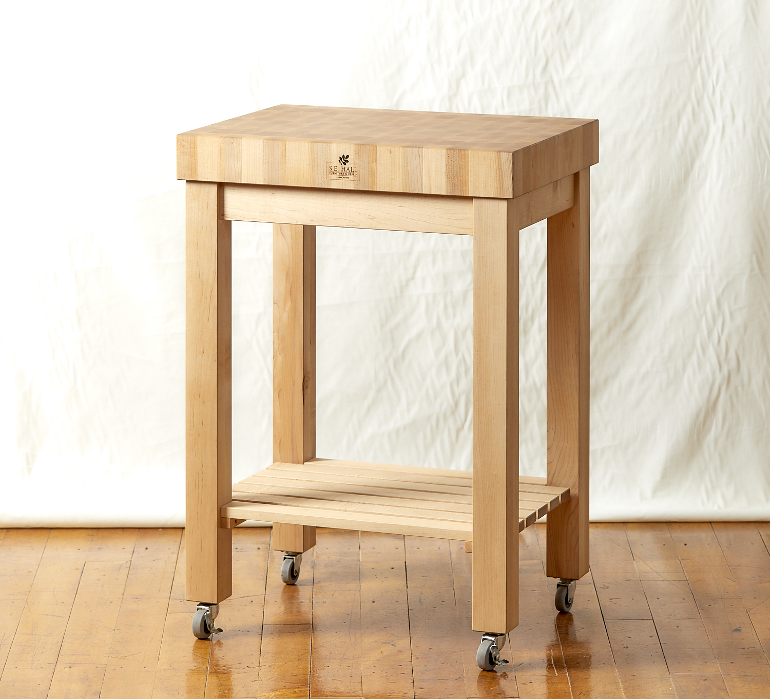 End Grain Butcherblock Cart, Hard Maple