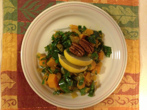Kale With Sweet Potatoes and Pecans