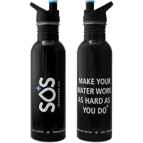 SOS Hydration Bidon - 750ml - Luxe zwarte RVS drinkfles