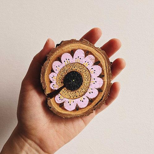 Pale Pink Floral Wood Cookie Wall Art