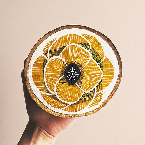 MADE TO ORDER ~ Medium Ochre Floral Wood Cookie Wall Art