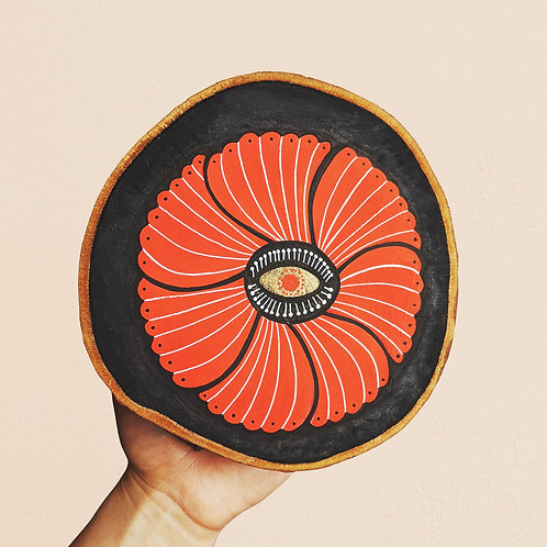 MADE TO ORDER ~ Large Poppy Wood Cookie Wall Art