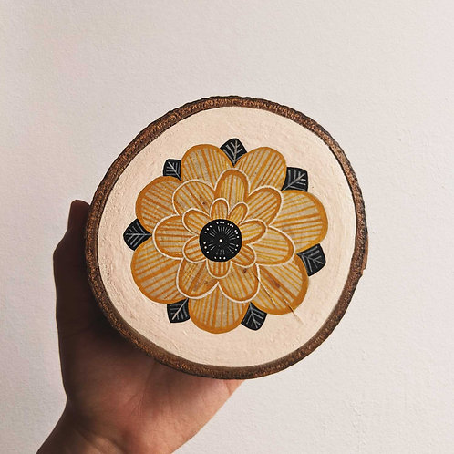 Mustard Floral Wood Cookie Wall Art