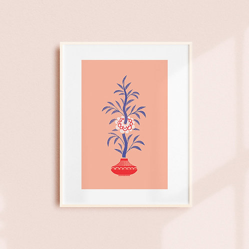 Pink/Blue Camellia Art Print
