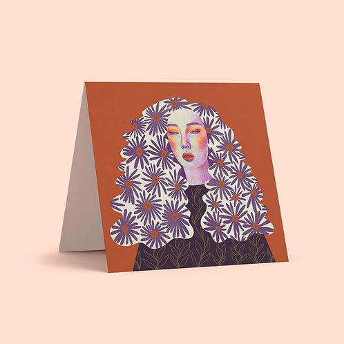 Orange Purple Lady Greeting Card
