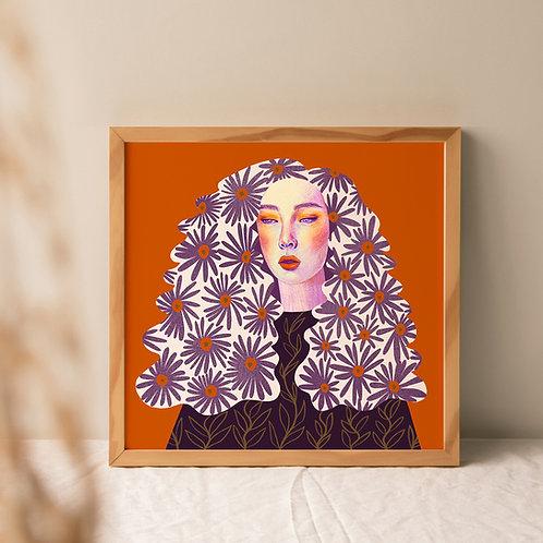 Orange Purple Lady Art Print