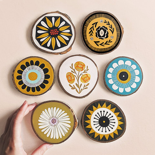 XSmall Floral Wood Cookie Wall Art