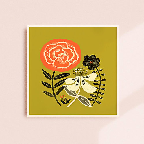 St.Johns Wort + Rose Art Print