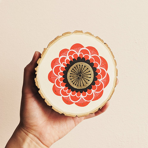 MADE TO ORDER ~ Small Red Floral Wood Cookie Wall Art