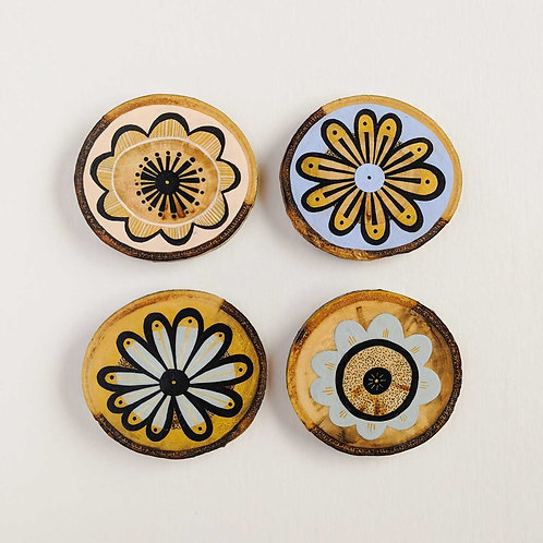 Small Floral Wood Cookie Wall Art