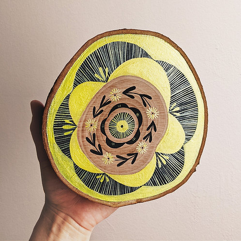 Yellow Floral Wood Cookie Wall Art