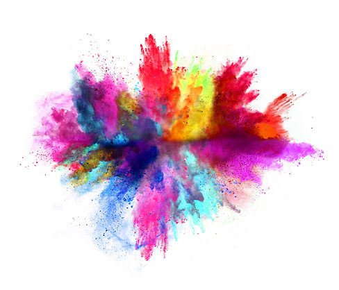 Explosion of colored powder, isolated on