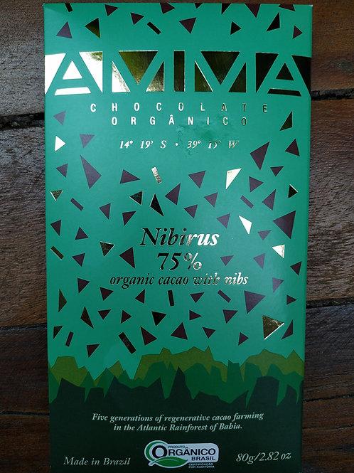 Chocolate orgânico Nibirus 75% Cacau