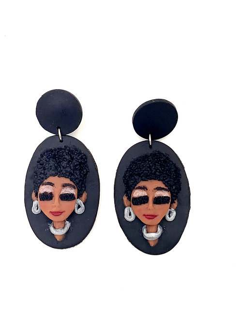Polymer Clay Earrings Natural Hair 2